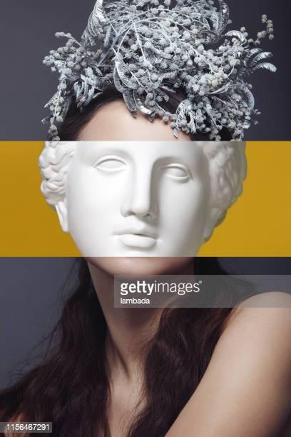 collage avec la femme et la tête de plâtre - arts culture and entertainment photos et images de collection