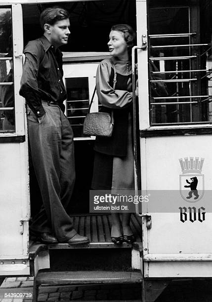 Collande Gisela von Actress Germany* on a tram with her brother Volker Photographer UMBO Published by 'Der Stern' 40/1939Vintage property of ullstein...