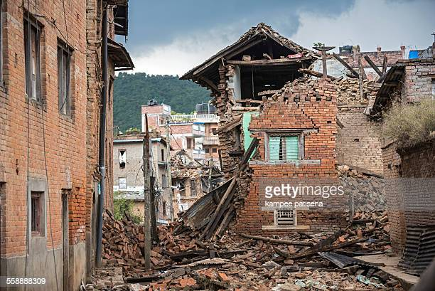 collapse buildings in sankhu village in, kathmandu - nepal photos stock pictures, royalty-free photos & images