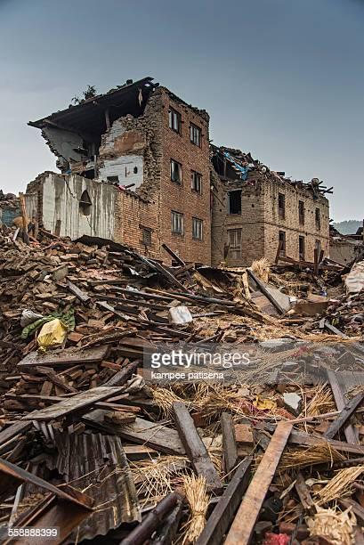 Collapse buildings in Sankhu village in, Kathmandu