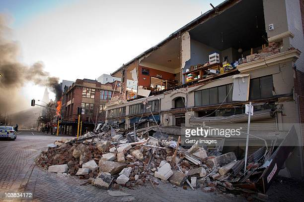 A collapsed building is seen after a 71 magnitude earthquake struck 30km west of the city at 435 am this morning September 4 2010 in Christchurch New...