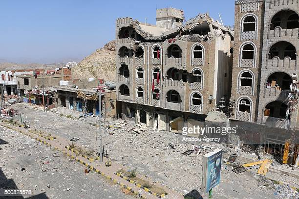 Collapsed building is seen after clashes between the Houthi Ansarullah movement members and the people's opposition forces supporting President Abd...
