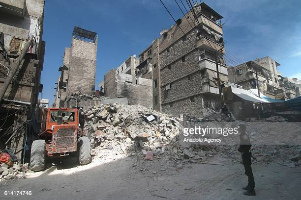 Collapsed buildings are seen after the war crafts belonging to the Russian Army carried out airstrike on a residential area in Aleppo Syria on...