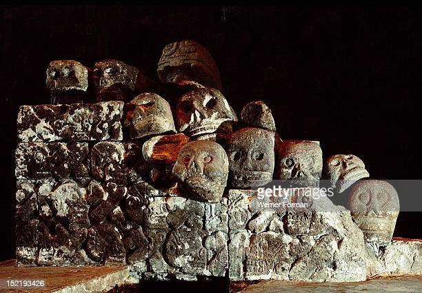 Collapsed carving of a Tzompantli or skull rack Such racks were near every Aztec temple and were used to store the heads of slain enemy warriors The...