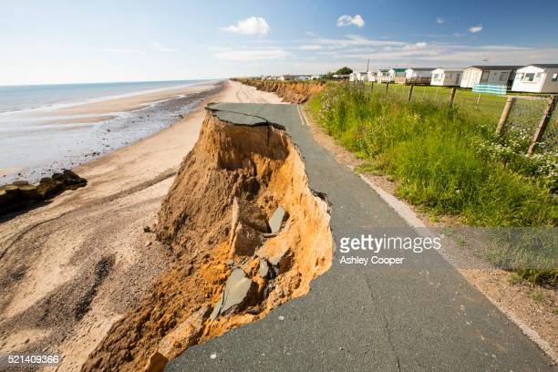 A collapsed coastal road between Skipsea and Ulrome on Yorkshires East Coast