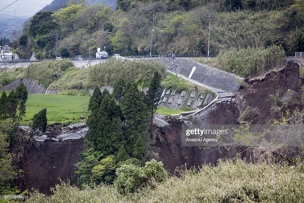 A collapsed road is seen after the earthquake on April 18, 2016 in Minamiaso, Kumamoto, Japan. After the magnitude 7.3 earthquake hit Kyushu at least 42 people have died and 11 still missing.