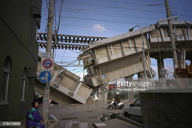 A collapsed Shinkansen bullet train rail track is seen on January 20 1995 in Nishinomiya Hyogo Japan Magnitude 73 strong earthquake jolted in the...