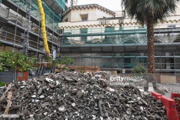 Collapsed wall inside the abandoned monastery of the church of San Giovanni Maggiore in downtown Naples The wall fell during renovations and four...