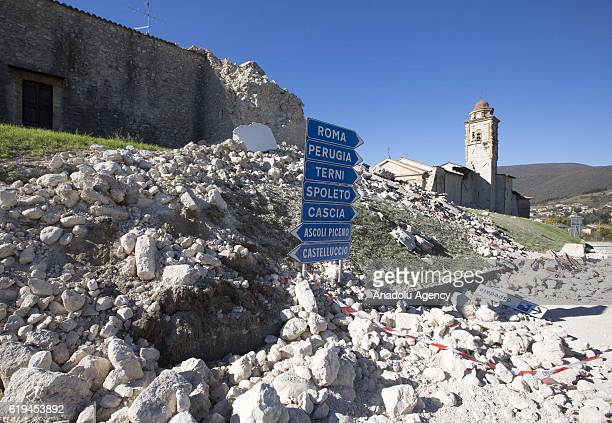 Collapsed walls in Norcia, Italy, the day after the earthquake that hit central Italy, on October 31, 2016. A 6.5 magnitude earthquake shook Italy's...