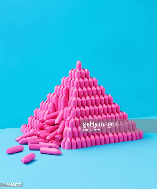 collapsing lipstick pyramid - collapsing stock pictures, royalty-free photos & images