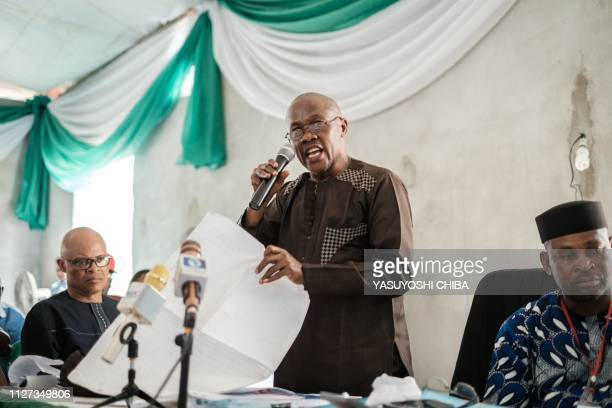 A collation officer reports the aggregattion total of votes at Rivers State collation centre in Port Harcourt Southern Nigeria on February 25 2019...