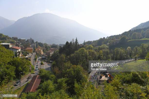 Colle Gallo / Landscape / Peloton / Mountains / during the 112th Il Lombardia 2018 a 241km race from Bergamo to Como / IL / on October 13, 2018 in...