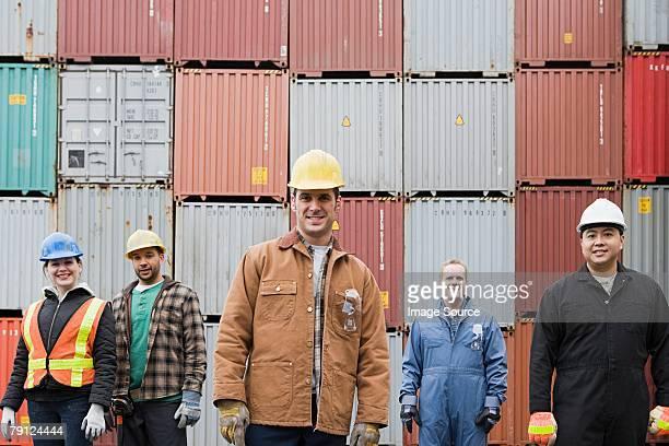 colleagues at container terminal - haven stockfoto's en -beelden