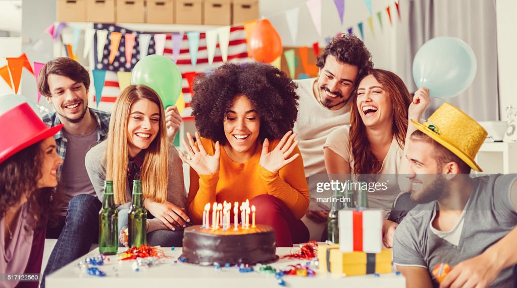 Colleagues celebrating birthday party in the office : Stock Photo