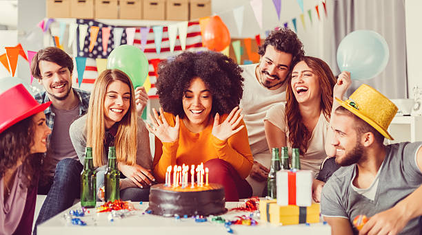colleagues celebrating birthday party in the office - best friend birthday cake stock pictures, royalty-free photos & images