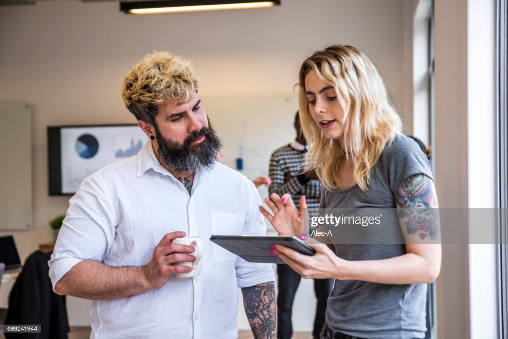 Colleagues creating new business strategy : Stock Photo