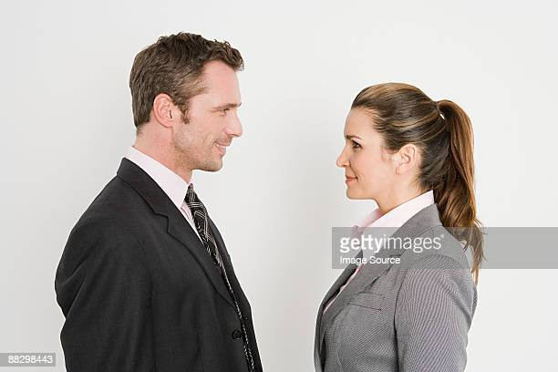 Colleagues face to face