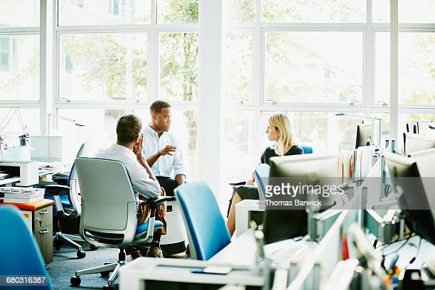 Colleagues having informal project discussion