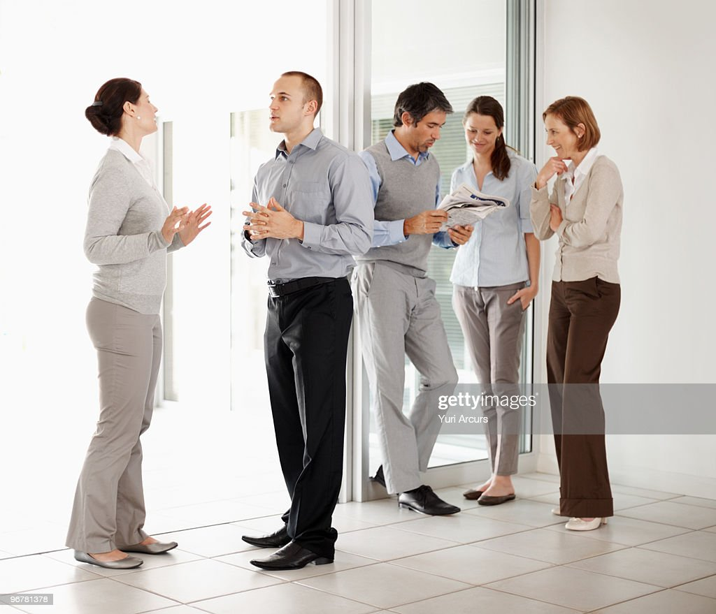 Colleagues in conversation during their break : Stock Photo