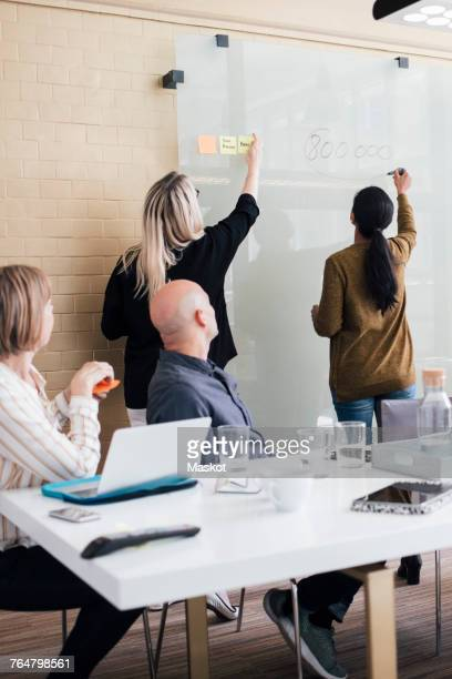 Colleagues looking at female professionals explaining strategy on glass during meeting