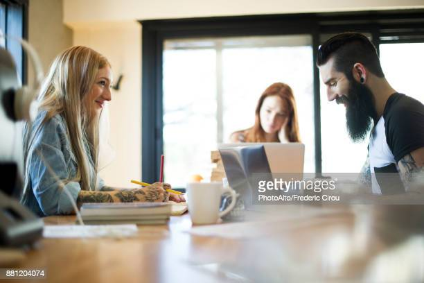 Colleagues working in casual office
