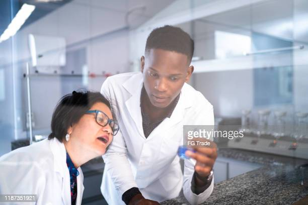 colleagues working in laboratory - microbiologist stock pictures, royalty-free photos & images