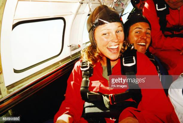 Collect photograph of Lisa Wilson from Nomansland Wiltshire pictured before a tandem parachute jump in New Zealand during her gap year world trip The...
