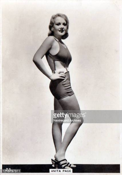 Collectible British American Tobacco Card Modern Beauties series published 1938 depicting film actress Anita Page posing in profile in a glamorous...