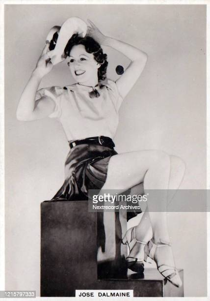 Collectible British American Tobacco Card, Modern Beauties series, published 1938, depicting film actress Jose Dalmaine posing in stylish glamour...