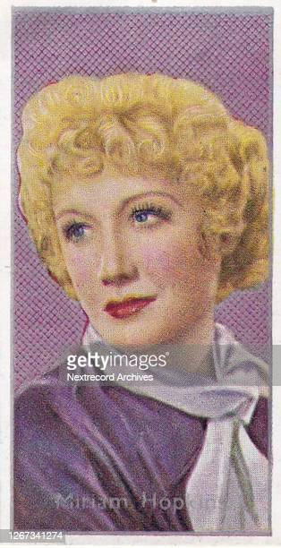 Collectible Carreras tobacco card, Film Stars series, published in 1936, depicting glamorous Hollywood cinema stars, here Miriam Hopkins poses in a...
