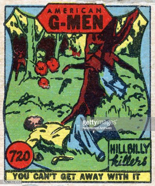 Collectible cartoon tobacco card published in 1930 in a series titled 'American G-Men' that follows Herbert Hoover and the formation of the United...