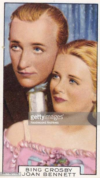 Collectible Gallaher tobacco card, Film Partners series, published 1935, depicting Hollywood and British film stars as romantic couples in stills...