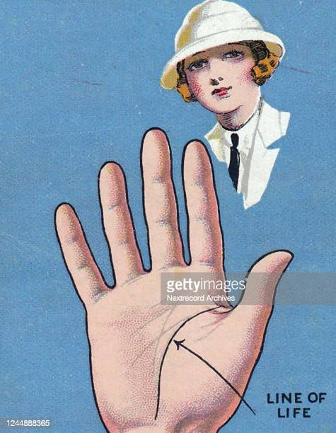 Collectible Major Drapkin tobacco card Palmistry series published 1927 depicting palm reading or fortune telling by the lines of the hand here...