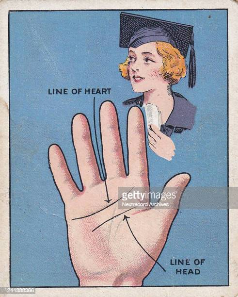Collectible Major Drapkin tobacco card, Palmistry series, published 1927, depicting palm reading or fortune telling by the lines of the hand, here...
