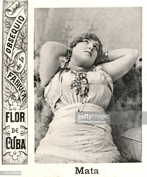 Collectible tobacco card depicting famous performer and World War I spy Mata Hari, distributed ca. 1920 by Flor de Cuba tobacco manufacturer. In the...