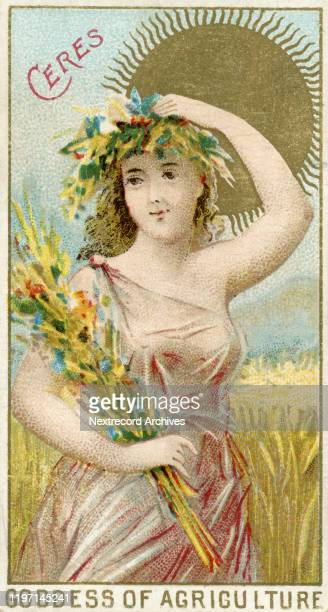 Collectible tobacco card from 1889 depicting Goddesses of the Greeks and Romans distributed with packs of cigarettes manufactures by W S Kimball...