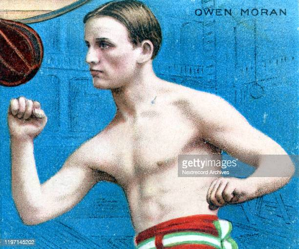 Collectible tobacco card from 1910 series titled Athletes and Prize Fighters distributed with packs of Hassan Cigarettes an American tobacco company...