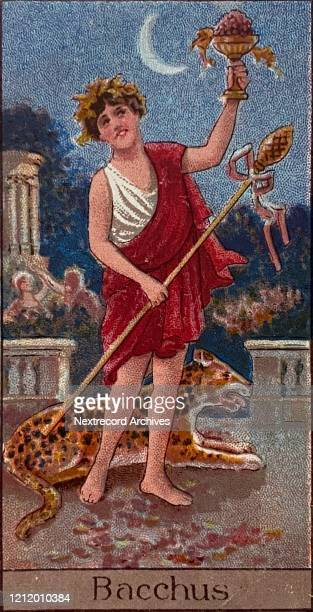 Collectible tobacco card from 1924 a set titled Mythological Gods and Goddesses distributed with packs of Turf Cigarettes depicting Bacchus the God...