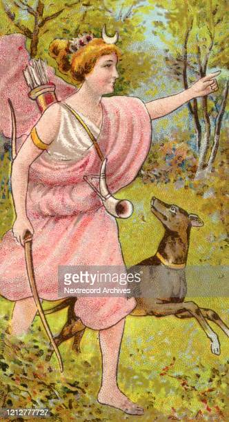 Collectible tobacco card from 1924 a set titled Mythological Gods and Goddesses distributed with packs of Turf Cigarettes depicting Diana also called...