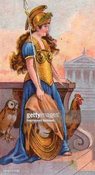 Collectible tobacco card from 1924 a set titled Mythological Gods and Goddesses distributed with packs of Turf Cigarettes depicting Minerva or Athena...