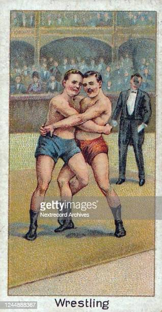 Collectible tobacco card from 1925 series titled Sports Records distributed with packs of Turf Cigarettes, featuring two wrestlers in a match with an...