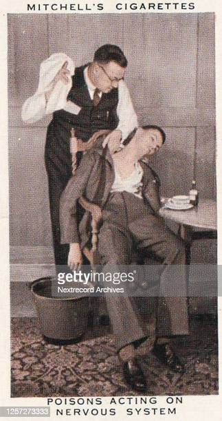 Collectible tobacco card published by British tobacco manufacturer Mitchell Cigarettes in 1938 in a series titled 'First Aid' depicting a doctor...