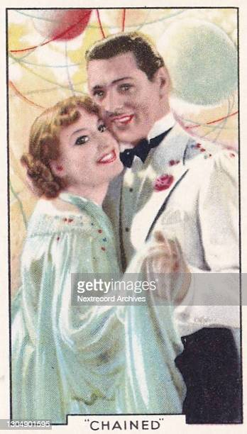 Collectible tobacco or cigarette card, 'Shots from Famous Films' series, published in 1935 by Gallaher Ltd, here actors Joan Crawford and Clark Gable...