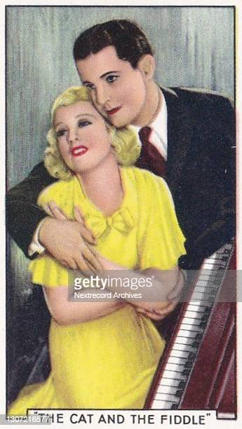 Collectible tobacco or cigarette card, 'Shots from Famous Films' series, published in 1935 by Gallaher Ltd, here actors Jeanette Macdonald and Ramon...