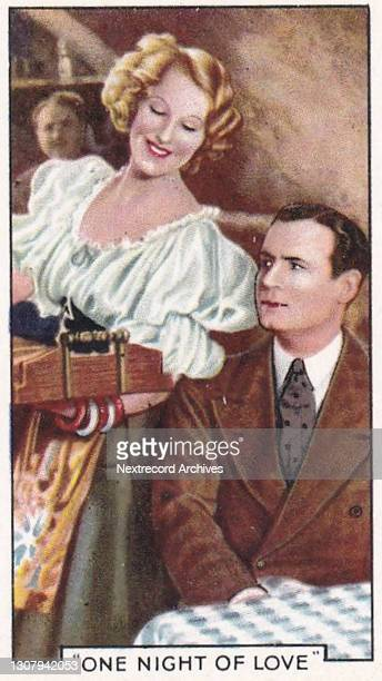 Collectible tobacco or cigarette card, 'Shots from Famous Films' series, published in 1935 by Gallaher Ltd, here actors Grace Moore and Tullio...