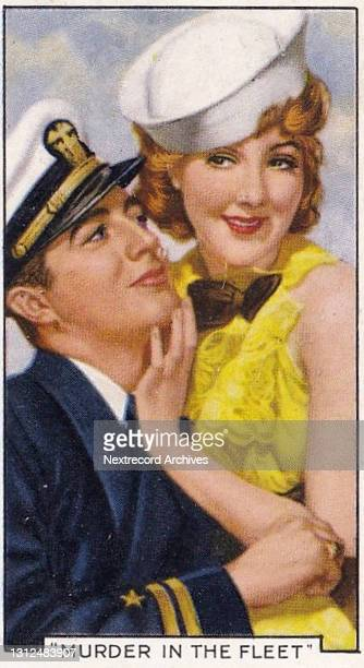 Collectible tobacco or cigarette card, 'Shots from Famous Films' series, published in 1936 by Gallaher Ltd, here actors Robert Taylor and Jean Parker...