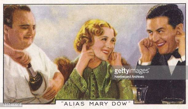 Collectible tobacco or cigarette card, 'Shots from Famous Films' series, published in 1936 by Gallaher Ltd, here actors Sally Ellers and Raymond...