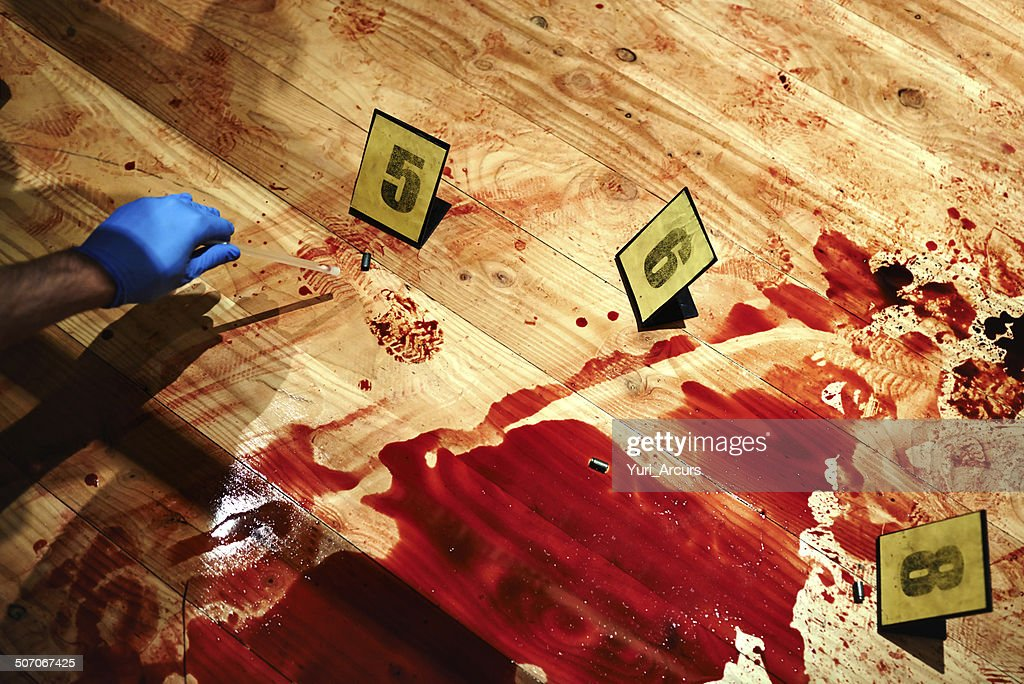 Collecting bloody evidence : Stock Photo