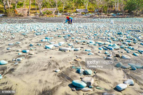 Collecting blue stones for exports in Flores Indonesia.
