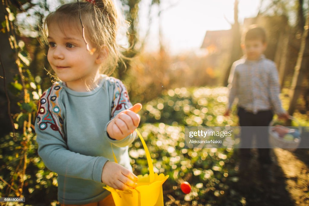 Collecting Easter eggs : Stock Photo